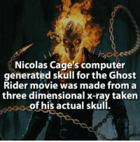 Ghost Rider : Nicolas Cage's computer  generated skull for the Ghost  Rider movie was made from a  three dimensional x-ray taken  of his actual skull.
