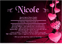 Memes, Relationships, and Meaning: Nicole N  gocal origin of Name: English  arom the Greek name Nicholas  edo Meanin  ictorious people  Emotional Spectrum Asmile gives you more face value.  ersonality She can Reep her sense and nonsense separated.  Relationships ariends have often told her how much they (ike her.  ravel & Cleisure Born to travel!  Career &aConey. Education is the key to Nicole's career path.  Ue s Opportunities Open to suggestions. her innovative spirit wilC lead the way.  he eyes of the gord keep watch over knowledge.  www.angiescreation.com Want to know the meaning of your name? Search your name at-->  ====================== www.angiescreation.com  ====================== Didn't found your name? Leave your name in the comments and we will make you one