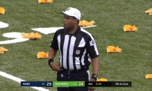 Football, Nfl, and Sports: NIEABBE  31 24  3-1 29 SEAHAWKS  4th  2:34  4th & Goal  RAMS Clay Matthews: *breathes*   NFL refs: https://t.co/NtkbkcIgwF