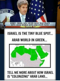 """Lay's, Memes, and Israel: NIED  R  KERRY: ISRAEL WILL NEVER HAVE TRUE PEACE  WITH ARAB WORLD WITH ONE STATE PATH  IVE  NEWS  T NEP  ISRAEL IS THE TINY BLUE SPOT...  ARAB WORLD IN GREEN...  TELL ME MORE ABOUT HOW ISRAEL  IS """"COLONIZING"""" ARAB LAND If the Arab World were to lay down their arms tomorrow, there would be peace. If Israel were to lay down their arms tomorrow, they would be overrun and annihilated within a month. This should leave no question as to who the provocateur is in this conflict. ~SF"""