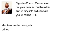 Send Me A Number: Nigerian Prince: Please send  me your bank account number  and routing info so I can wire  you $2 million USD  Me: i wanna be da nigerian  prince