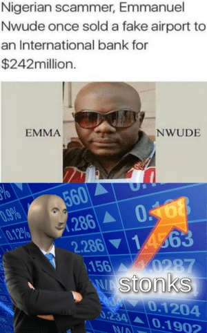 Fake, Bank, and International: Nigerian scammer, Emmanuel  Nwude once sold a fake airport to  an International bank for  $242million.  EMMA  NWUDE  560  286  .9%  0.12%  2.286 14563  156 0287  WAStonks  40.1204  0.234 0.1902  02  N/A Outstanding Move