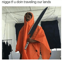 Memes, 🤖, and Nigga: nigga tf doin traveling our lands These lands are sacred ⚔ Follow @pablopiqasso ✅ (me) for more dank memez