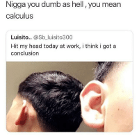 Dumb, Head, and Memes: Nigga you dumb as hell , you mean  calculus  Luisito.. @Sb_luisito300  Hit my head today at work, i think i got a  conclusion no wtf its capsicum