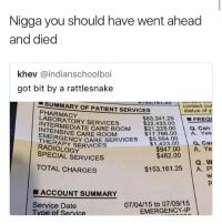 That's a death note • 👉Follow me @no_chillbruh for more: Nigga you should have went ahead  and died  khev @indianschoolboi  got bit by a rattlesnake  , '01.49  SUMMARY OF PATIENT SERVICES  PHARMACY  LABORATORY SERVICES  contact our  status of y  $83.34 1.25 |-FREQ  $22,433.00  RMEDIATE CARE ROOM $21,22500 a. Can  $17,766.00 A. Yes  1423.00 . Car  $947.00 A. Ye  Q. W  $153,161.25 A. P  INTENSIVE CARE ROOM  ▼$5,564.00  EMERGE  THERAPY SERVICES  NCY CARE SERVICES  RADIOLOGY  SPECIAL SERVICES  $462.00  TOTAL CHARGES  ■ ACCOUNT SUMMARY  Service Date  Tvpe of Service  07/04/15 to 07/09/15  EMERGENCY-IP That's a death note • 👉Follow me @no_chillbruh for more