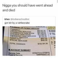 $150,000 😳😂💀 WSHH: Nigga you should have went ahead  and died  khev @indianschoolboi  got bit by a rattlesnake  00:10 1.20  our  -SUMMARY OF PATIENT SERVICES  PHARMACY  LABORATORY SERVICES  I  status of y  $83,341.25 | ■FREQI  $17,766.00 A. Yes  a. Car  $22.433.00  NTENMEDIATE CARE ROOM $21.225.00 a. Can  NCY CARE SERVICES ▼$5,564.00  CARE ROOMy  EMERGE  THERAPY SERVICES  $1,423.00  RADIOLOGY  SPECIAL SERVICES  $947.00 A. Ye  Q. W  $153,161.25 A. P  $462.00  TOTAL CHARGES  ■ ACCOUNT SUMMARY  Service Date  07/04/15 to 07/09/15  EMERGENCY-IP  vDe of Service $150,000 😳😂💀 WSHH