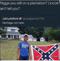 Blackpeopletwitter, Free, and Lincoln: Nigga you still on a plantation? Lincoln  ain't tell you?  JoELpAtR.cK調@Joelpatrick1776  Heritage not hate.  EAGAN We been free man!!! Get out!!! (via /r/BlackPeopleTwitter)