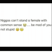 Af, Memes, and Sorry: Niggas can't stand a female with  common sense ).... be mad af you  not stupid Be mad as hell you not about to sit there and let him waste TF outta your time 😂😂😂😂😂😂 I'm sorry Sir, I'm not the bigdummydeluxe in this equation you are 😂😂😂😂😂 shepost♻♻