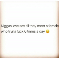 Love, Memes, and Sex: Niggas love sex till they meet a female  who tryna fuck 6 times a day Repost @mmmforeign