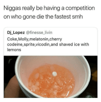 I don't understand why ppl do this shit: Niggas really be having a competition  on who gone die the fastest smh  Dj Lopez @finesse_livin  Coke,Molly,melatonin,cherry  codeine,sprite vicodin,and shaved ice with  lemons I don't understand why ppl do this shit