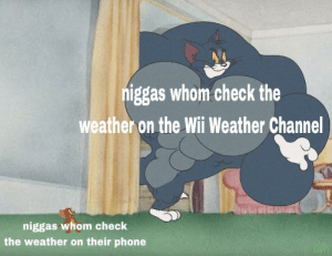Phone, True, and The Weather: niggas whom check the  weather on the Wii Weather Channel  niggas whom check  the weather on their phone The official weather of true gamers