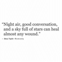 "Remedy: ""Night air, good conversation,  and a sky full of stars can heal  35  almost any wound.""  - Beau Taplin Remedy"