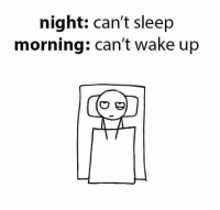 night: can't sleep  morning: can't wake up