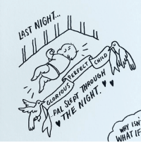 Memes, Sleep, and Comics: NIGHT..  LAST  CHILD  ERFEC OUG  GLOR  SLEP  PAL  ISN  IF  WHAT Zzzs. - I've started adding a bit more commentary on my posts on Patreon. So if you like sleep-deprived rambles, join in and support my comics there, patreon.com-lucyknisley! sketchbook littlepalindrome