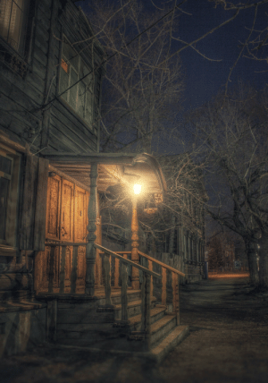Night street in Russia as a location in some game: Night street in Russia as a location in some game
