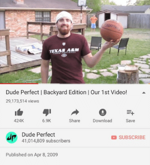 Basketball, College, and Dude: NIGT  TEXAN ARM  Dude Perfect | Backyard Edition | Our 1st Video!  29,173,514 views  424K  6.9K  Share  Download  Save  Dude Perfect  SUBSCRIBE  41,014,809 subscribers  Published on Apr 8, 2009 **TODAY IS OUR 10 YEAR ANNIVERSARY** || It all started in 2009 when we were just five college roommates at Texas A&M. We randomly filmed some basketball trick shots in our backyard one afternoon and uploaded it to YouTube. 10 years later to the day, we've crossed 41 million subscribers, have 7.6 billion views, a clothing line, a book, 4 iPhone games, 3 TV Show seasons and are heading on a US Live Tour! What a journey & to think we are just getting started! God is good! Pound it. Noggin! 🤜🏻 🙇🏻♂️