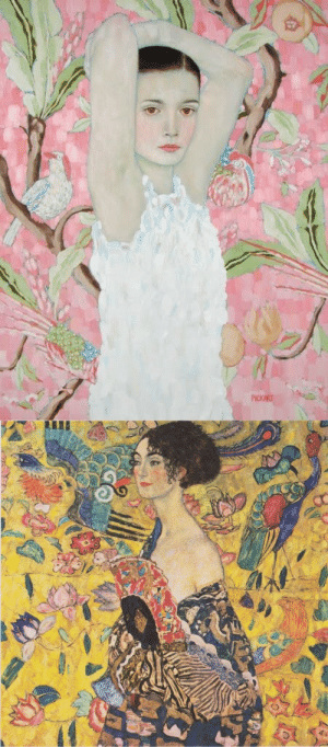 nihilismandwine: Gustav Klimt; Odette ( l ) and Lady With Fan ( r ) : nihilismandwine: Gustav Klimt; Odette ( l ) and Lady With Fan ( r )