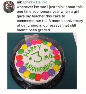 Essays: nik @nikkikatalinic  whenever i'm sad i just think about this  one time sophomore year when a gil  gave my teacher this cake to  commemorate the 3 month anniversary  of us turning in our essays that still  hadn't been graded  SPY  APP  VIVERS