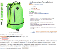 Amazon, Beautiful, and Comfortable: Nike Cheyenne Vapor Running Backpack  by Nike  Price: $8748  Sale: $52.48  You Save: $35.00 (40%)  In stock.  Usually ships within嗯to 5 days.  hips frnr saoll hy Sport  sShoesunlimited  Size: One  Adjustable Harness - For a comfortable, customized fit on the go  Nike Aerospan Back Panel This allows airflow for added  breathability and comfort  Nike Hypervoid material - Located at the front and the back for  enhanced stability  Dual-Zip Compartment - A compartment with a laptop sleeve and  pockets for specialized storage  Wet Storage Compartmenr - Located at the base to separate wet and  dry storage  Up to 27% off Select US Divers Snorkel Combos  Take your adventures underwater with great savings c  Roll over image to zoom in   22 of 22 people found the following review helpful  Really Beautiful Backpack July 18, 2013  B Rei Ryugazaki  my mass (m) much, so I can keep acceleration (a) constant and not increase my force (F) output above  ideal levels. The many straps make me feel very secure. It's also beautifully proportioned. The designens  truly attained the perfect backpack form through theory and calculation.  Comment | Was this review helpful to you? YesNo notsuki:  I'M LAUGHIGN SO HARD AT THE REVIEW