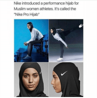 "Memes, 🤖, and Hijab: Nike introduced a performance hijab for  Muslim women athletes. It's called the  ""Nike Pro Hijab"" this is so cool!!"