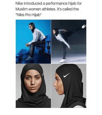 """Memes, 🤖, and Hijab: Nike introduced a performance hijab for  Muslim women athletes. It's called the  """"Nike Pro Hijab"""" Hi"""