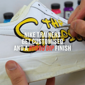 These customised Nike trainers would be perfect for fans of The Simpsons 😮👏: NIKE TRAINERS  GET CUSTOMISED  AND A HICRO DIP FINISH These customised Nike trainers would be perfect for fans of The Simpsons 😮👏