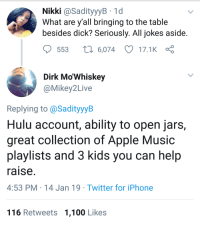 Anaconda, Apple, and Hulu: Nikki @SadityyyB 1d  What are y all bringing to the table  besides dick? Seriously. All jokes aside  553  6,074 17.1K  Dirk Mo'Whiskey  @Mikey2Live  Replying to @SadityyyB  Hulu account, ability to open jars,  great collection of Apple Music  playlists and 3 kids you can help  raise  4:53 PM 14 Jan 19 Twitter for iPhone  116 Retweets 1,100 Likes A handmaids tale of Mason jars