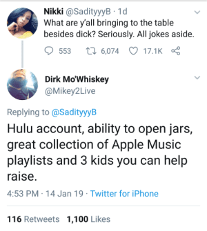 Anaconda, Apple, and Dank: Nikki @SadityyyB 1d  What are y all bringing to the table  besides dick? Seriously. All jokes aside  553  6,074 17.1K  Dirk Mo'Whiskey  @Mikey2Live  Replying to @SadityyyB  Hulu account, ability to open jars,  great collection of Apple Music  playlists and 3 kids you can help  raise  4:53 PM 14 Jan 19 Twitter for iPhone  116 Retweets 1,100 Likes A handmaids tale of Mason jars by Rekdon MORE MEMES