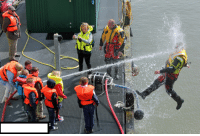 Target, Tumblr, and Blog: niknak79:  Kids playing with a water hose during coast guard demonstration.