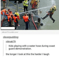 The Matrix, Matrix, and Coast Guard: niknak79 tumblr.com/  clever pudding  iknak79:  Kids playing with a water hose during coast  guard demonstration.  the longer I look at this the harder Ilaugh I'm watching the matrix