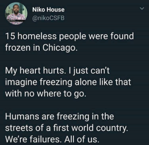speaking the truth by raffater MORE MEMES: Niko House  @nikoCSFB  15 homeless people were found  frozen in Chicago  My heart hurts. I just can't  imagine freezing alone like that  with no where to go.  Humans are freezing in the  streets of a first world country  We're failures. All of us. speaking the truth by raffater MORE MEMES