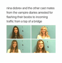 I'm laughing: nina dobrev and the other cast mates  from the vampire diaries arrested for  flashing their boobs to incoming  traffic from a top of a bridge I'm laughing