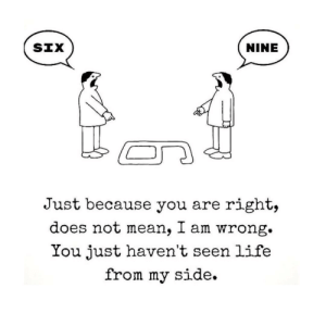 Life, Sex, and Tumblr: NINE  Just because you are right,  does not mean, I am wrong.  You just haven't seen life  from my side. moistnugget:  tiffanarchy:  conop-8888:  if there was a 6 and a 9 there would be 69 and that's the sex number