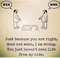 Food, Life, and Memes: NINE  SEX  Just because you are right,  does not mean, I am wrong.  Lou just haven't seen life  from my side. Just some food for thought.. hope you vatos are having a great week!