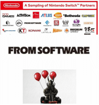 Nintendo  A Sampling of Nintendo Switch M Partners  GAMES ACTIVISION.  ABethesda  CAPCOM  NAMCO  E6  ZAO FROM soFTWARE  HAMSTER  Gung Ho  FROZEN BYTE  MAXIMUM  TO KONAMI  ANTICREATES  LEVELS  SOFTWARE  FROM SOFTWARE BEEP BEEP Dave