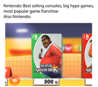 most popular: Nintendo: Best selling consoles, big hype games,  most popular game franchise  Also Nintendo:  SUPER  SMASH BRES  SM  300 g  STOLE