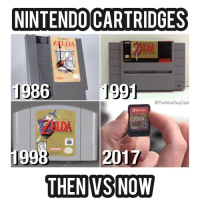 I can't even imagine what they'll look like in 10 years...: NINTENDO CARTRIDGES  ZELDA  1986  1  @TheNice Guy Cast  SWITCH  EVERYONE  2017  THEN VS NOW I can't even imagine what they'll look like in 10 years...