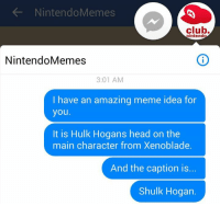 The other Nintendo Memes page is deleted now.: Nintendo Memes  club.  intend  Nintendo Memes  3:01 AM  I have an amazing meme idea for  you.  It is Hulk Hogans head on the  main character from Xenoblade.  And the caption is...  Shulk Hogan. The other Nintendo Memes page is deleted now.