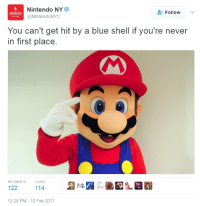 Mario Kart: Roll Safe Edition http://bit.ly/2lDE3qK: Nintendo NY  Follow  @NintendoNYC  You can't get hit by a blue shell if you're never  in first place.  RETWEETS  LlKES  122  114  12:28 PM 10 Feb 2017 Mario Kart: Roll Safe Edition http://bit.ly/2lDE3qK