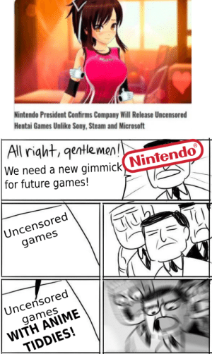 Fun for the whole family!: Nintendo President Confirms Company Will Release Uncensored  Hentai Games Unlike Sony, Steam and Microsoft  All right, qentle men!  We need a new  gimmick Nintendo  for future games!  Uncensored  games  Uncensored  WITH ANIME  TIDDIES!  games Fun for the whole family!