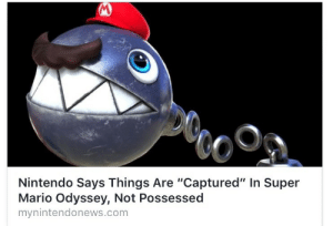 """Memes, Nintendo, and Super Mario: Nintendo Says Things Are """"Captured"""" In Super  Mario Odyssey, Not Possessed  mynintendonews.com neilnevins:  Fans: (make memes about Mario being even slightly diabolical or sinister)  Nintendo: NO! He is a good boy!"""