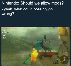 Dank, Nintendo, and Reddit: Nintendo: Should we allow mods?  - yeah, what could possibly go  wrong? Thomas the dank engine
