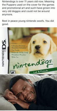 this broke my heart: Nintendogs is over 11 years old now. Meaning  the Puppers used on the cover for the games  and promotional art and such have grown into  very old doggos and could not be around  anymore  Rest in peace young nintendo woofs. You did  good  Includes:  Labrador Retriever  Miniature Sckhauzer  OI Toy Poodle  broke Welsk Corgi  eh Miniature Pinscher  iba Thu  TM  Lab & Friends  EVERYONE this broke my heart