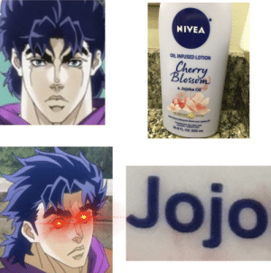 Jojo, Blossom, and Nivea: NIVEA  OIL INFUSED LOTION  Cherry  Blosson  & Jojoba Oil  OI INFUSED  LOTION  th Cherry Blossom Scent and Jojoba OR  ransforms dry skin into  ooth, radiant skin  16.9 FL. OZ. 500 mL  Jojo Parti skippers won't get this