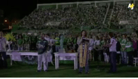 We're live from inside the Arena Conda stadium in Chapeco, Brazil, where celebrations are underway for a vigil to mourn the death of 71 people in a plane crash, 19 of them members of the Chapecoense club.: Nj We're live from inside the Arena Conda stadium in Chapeco, Brazil, where celebrations are underway for a vigil to mourn the death of 71 people in a plane crash, 19 of them members of the Chapecoense club.