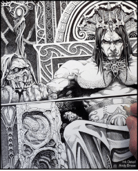 Memes, Tbt, and Horse: nk Deta  Andy Brase Throne of the Conqueror Ink Detail Cover art for Dark Horse (tbt) andybrase inks inking fantasyart fantasy inkdrawing penandink comicart coverart conan conanthebarbarian robertehoward kulltheconqueror darkhorse characterdesign artoftheday conceptart conceptartist traditionalart