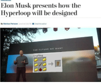 Future, Email, and Irl: nnovations  Elon Musk presents how the  Hyperloop will be designed  By Markus Persson June 9 at 4:20 PM  Email the author  THE FUTURE WE WANT  Crafting  transport me irl
