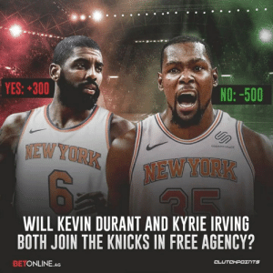 Kevin Durant, New York Knicks, and Kyrie Irving: NO: -500  YES: 300  EW YORK NEW  SQUARE SPACE  WILL KEVIN DURANT AND KYRIE IRVING  BOTH JOIN THE KNICKS IN FREE AGENCY?  BETONLINE.AG The bookies estimate there's a 25% chance of KD and Kyrie joining forces in Knicks jerseys next season. Are you taking that bet? 💰 — @KnicksNationCP