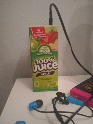 Apple, Juice, and Vitamin C: No  Added  Sweeteners  NATURE'S NECTAR  100%  JUIce  APPLE  A 100% JUICE FROM CONCENTRATE  WITH ADDED VITAMIN C  Calories  100  70%  VITAMINC  MOR DAILY  Per  bor  6.75 FL OZ (200mL) U  ST  CE  GVAAS (╯ರ ~ ರ)╯︵ ┻━┻