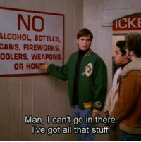 no alcohol: NO  ALCOHOL, BOTTLES  CANS, FIREWORKS  OOLERS, WEAPONS  OR HOR  Man, I can't go in there  l've got all that stuf